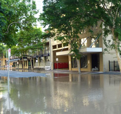 Flooded Margaret Street Brisbane