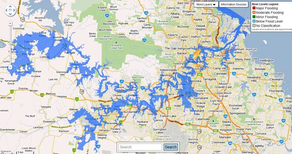 Brisbane flood map 2013