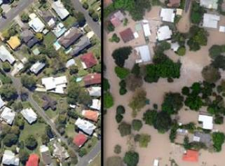 Map of before and after Brisbane floods